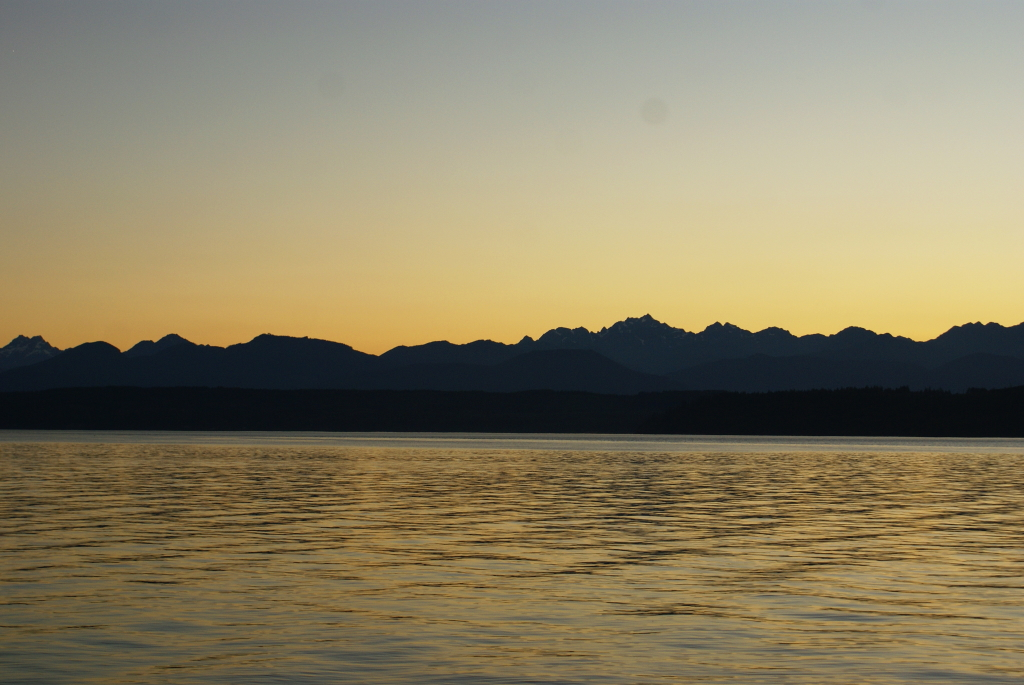 Stunning September Sunset behind the Olympic Mountains with Hood Canal in the foreground