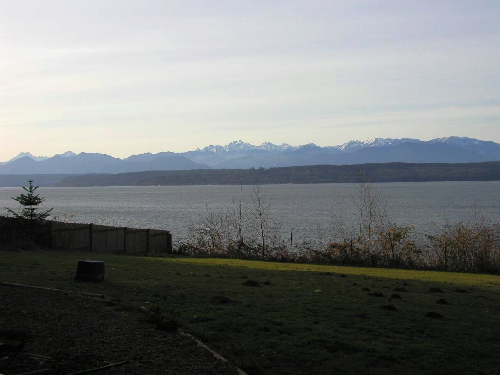 Near sunset view  Looking SW from Lofall of the Olympic Mountains & Hood Canal in Winter